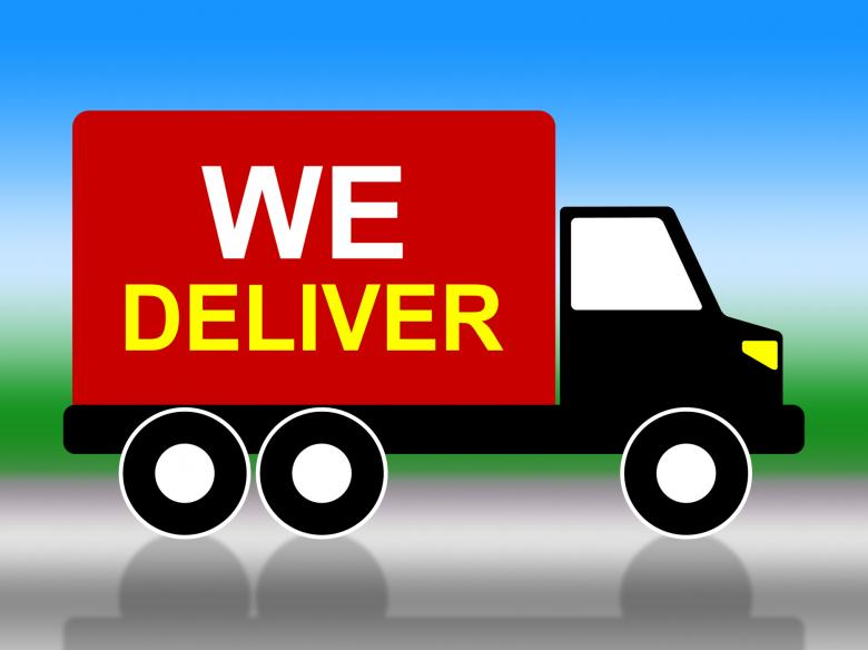 Free Stock Photo of We Deliver Represents Transporting Parcel And Moving Created by Stuart Miles