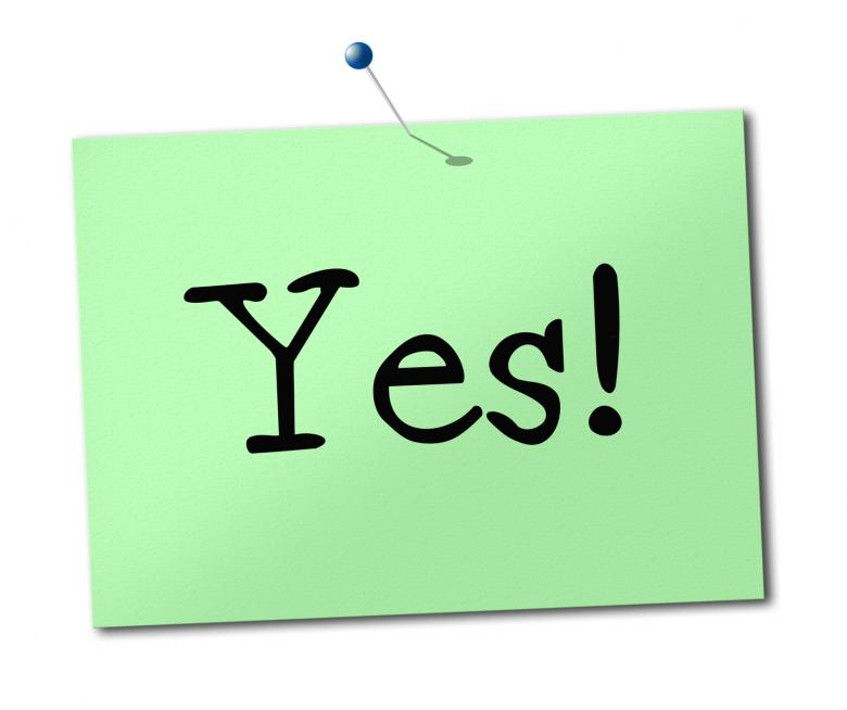 Free stock image of Yes Sign Shows All Right And Agree created by Stuart Miles