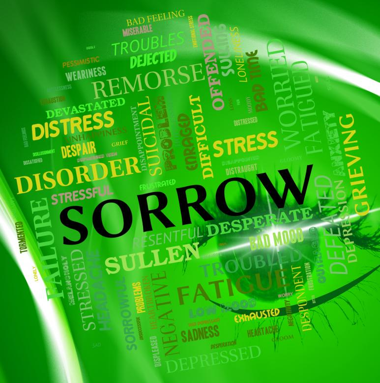 Free Stock Photo of Sorrow Word Shows Grief Stricken And Depressed Created by Stuart Miles