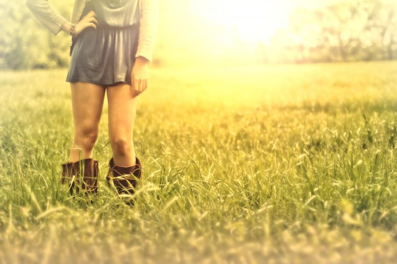 Free Stock Photo of Hazy Vintage Looks - Country Girl on the Grass - With Copyspace Created by Jack Moreh