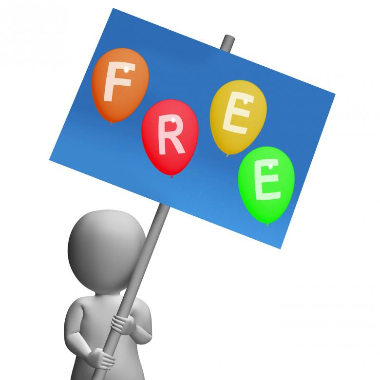 Free Stock Photo of Sign Free Balloons Represent Gratis and no Charge Created by Stuart Miles