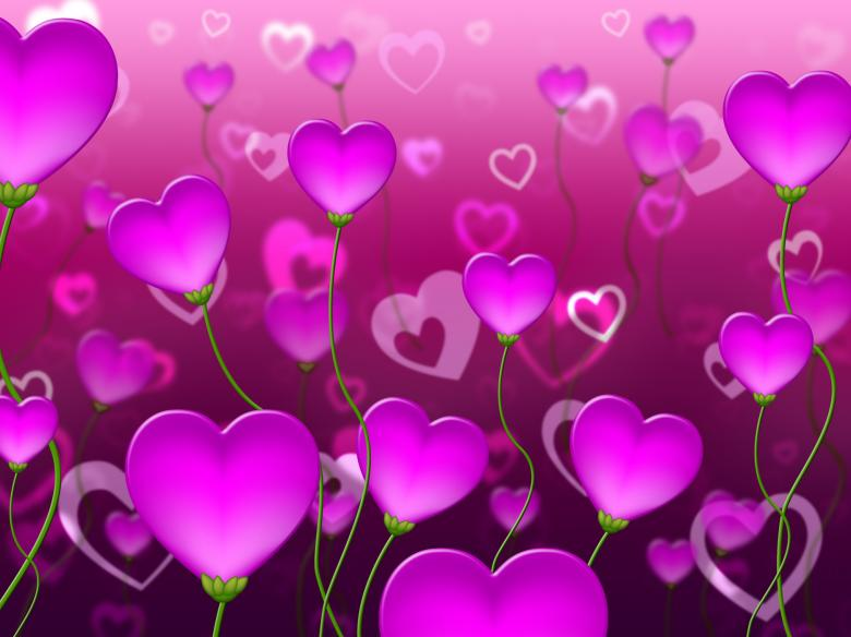 Free Stock Photo of Mauve Hearts Background Represents Valentine Day And Backgrounds Created by Stuart Miles
