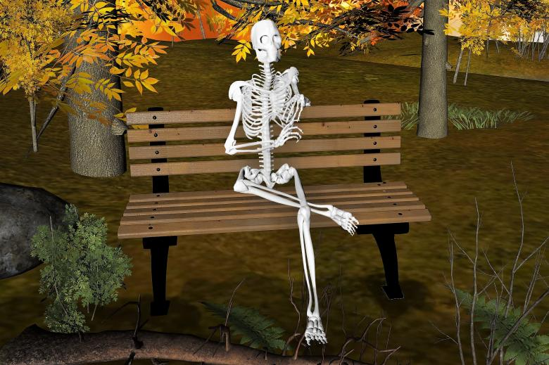 Skeleton Sitting on Bench - Free Stock Photo by bykst on