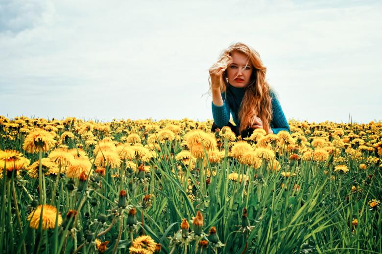 Free Stock Photo of Woman with Dandelions Created by Pixabay
