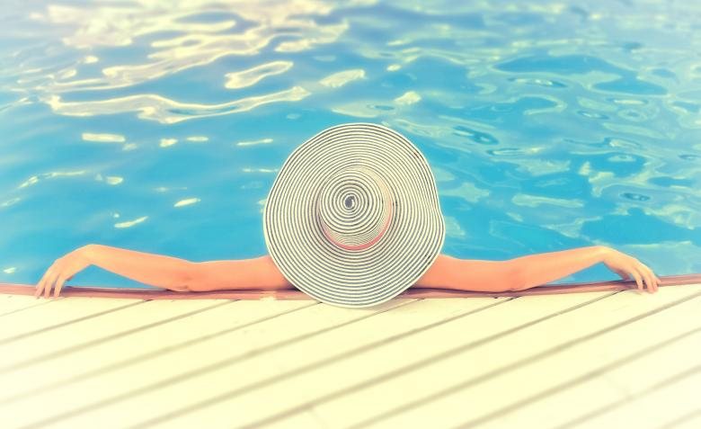 Woman On Vacations With Hat Relaxing Swimming Pool Free Stock Photo By Jack Moreh On