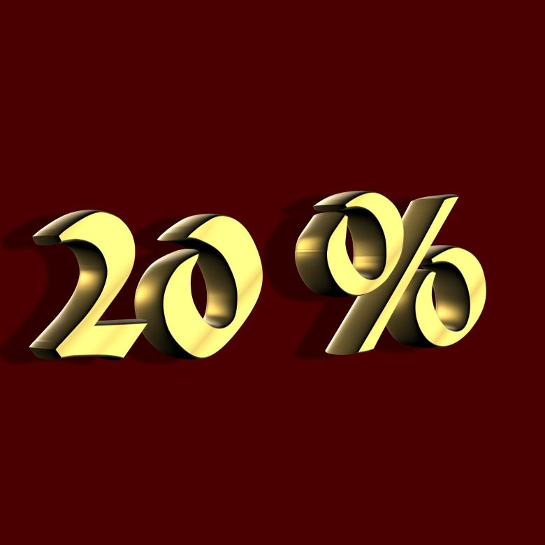 Free Stock Photo of Golden 20 Percent Created by bykst
