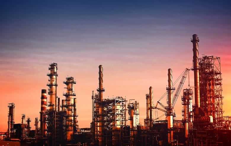Free Stock Photo of Oil Refinery at Dusk - Vivid Colors Created by Jack Moreh