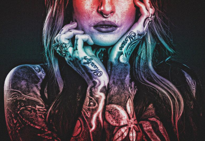 Free Stock Photo of Tattooed Woman - Grunge Noisy Looks Created by Jack Moreh