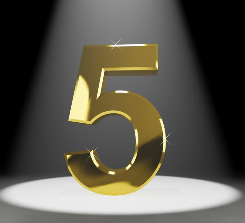 Free Stock Photo of Gold Five Or 5 3d Number Closeup Representing Anniversary Or Birthday Created by Stuart Miles
