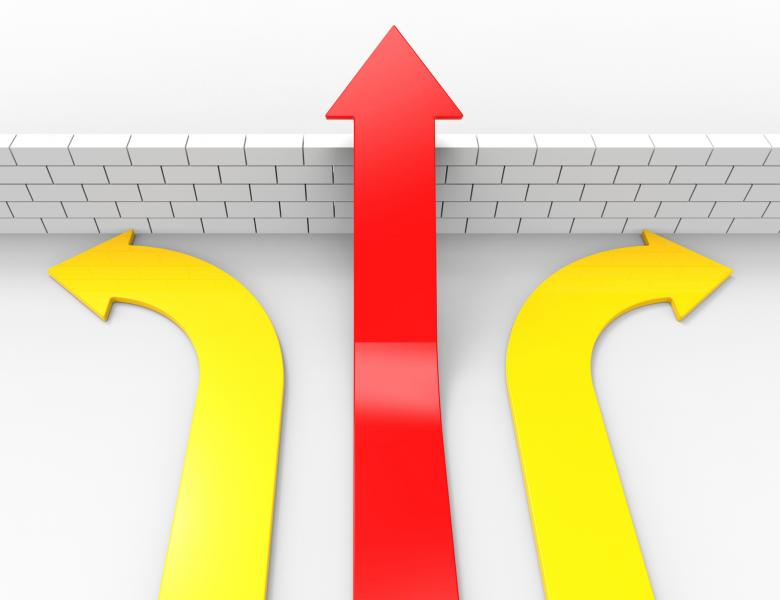 Free Stock Photo of Success Arrow Represents Overcome Problems And Blocked Created by Stuart Miles