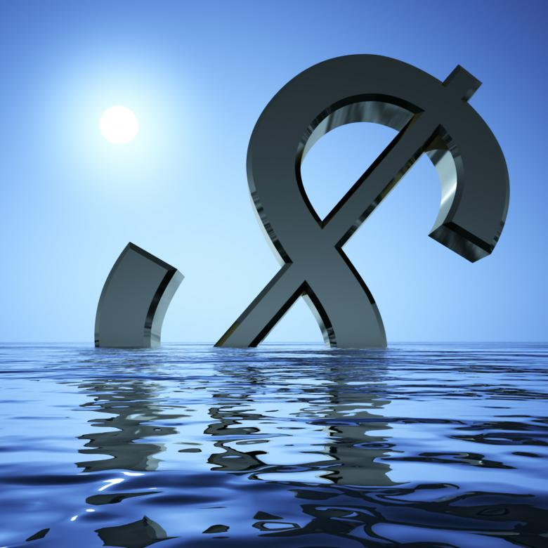 Free Stock Photo of Dollar Sinking In The Sea Showing Depression Recession And Economic Do Created by Stuart Miles