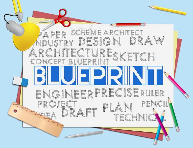 Free Stock Photo of Blueprint Words Means Designer Design And Architectural Created by Stuart Miles