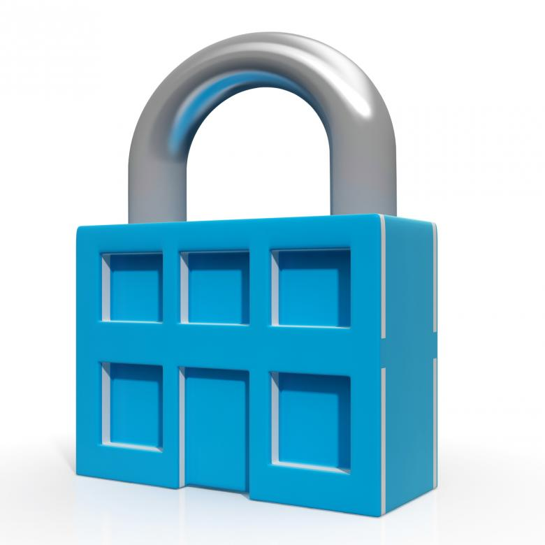 Free Stock Photo of Padlock And House Showing Building Security Created by Stuart Miles