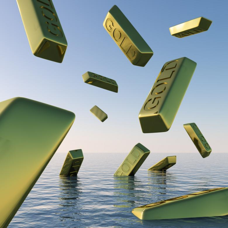 Free Stock Photo of Gold Bars Falling Showing Depression Recession And Economic Downturn Created by Stuart Miles