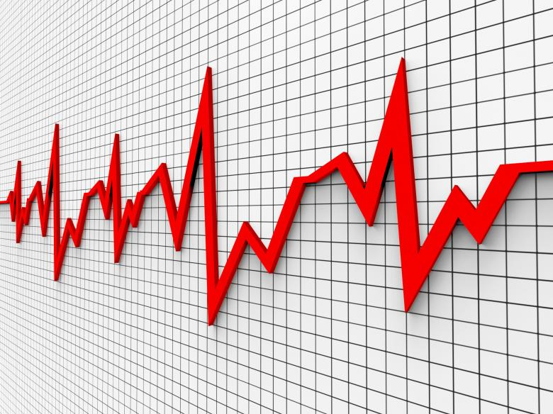 Heartbeat chart shows flat screen and cardiograph free stock photo