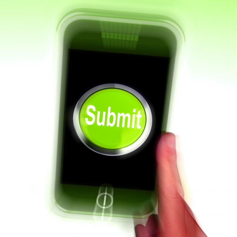Free Stock Photo of Submit Mobile Means Submitting On Entering Online Created by Stuart Miles