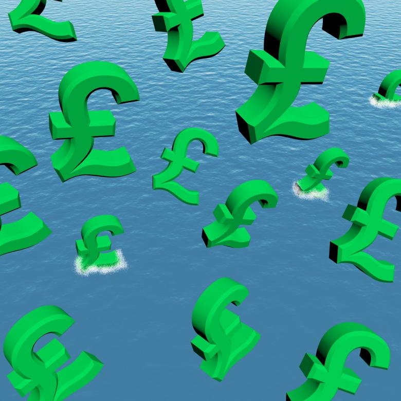 Free Stock Photo of Pounds Dropping In The Sea Showing Depression Recession And Economic D Created by Stuart Miles