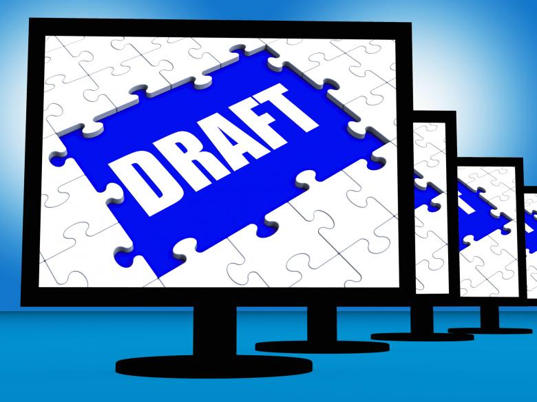 Free Stock Photo of Draft Screen Shows Outline Documents Or Email Letter Online Created by Stuart Miles