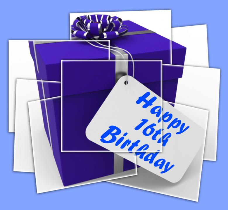 Free Stock Photo of Happy 16th Birthday Gift Displays Congratulations Age Sixteen Created by Stuart Miles