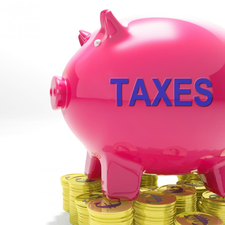 Taxes Piggy Bank Means Taxed Income And Tax Rate - Free Tax Stock Photos