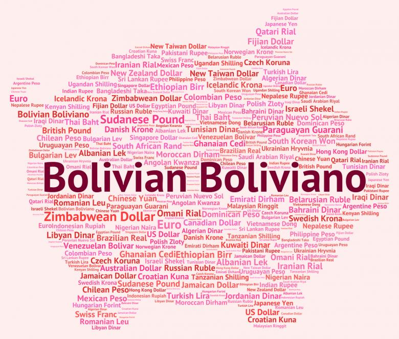 Bolivian Boliviano Indicates Exchange Rate And Banknotes