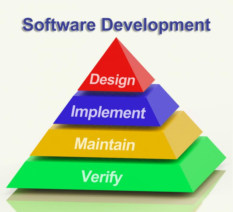 Free Stock Photo of Software Development Pyramid Showing Design Implement Maintain And Ver Created by Stuart Miles