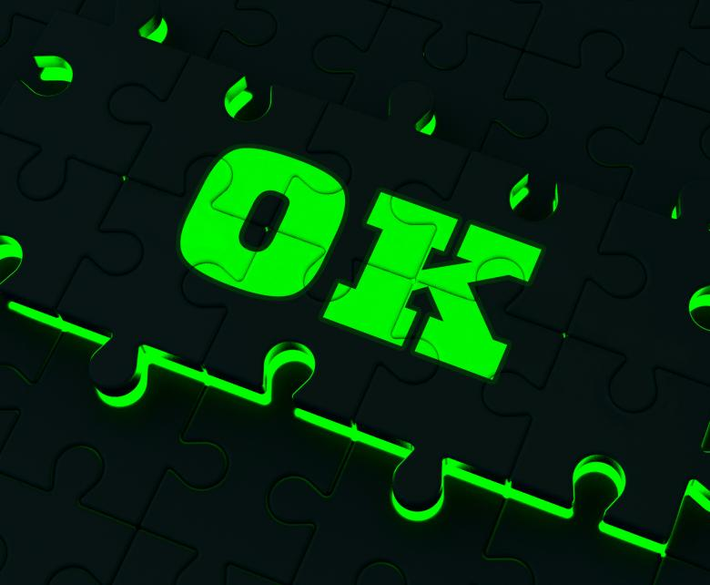 Free stock image of Ok Puzzle Shows Approved Positive Correct Okay Or Passed created by Stuart Miles