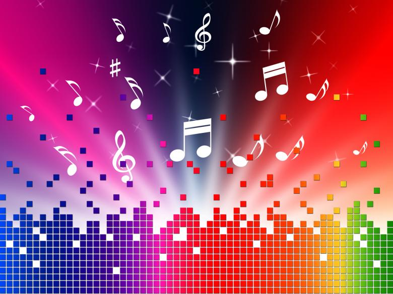 Free Stock Photo of Colorful Music Background Shows Sounds Jazz And Harmony Created by Stuart Miles