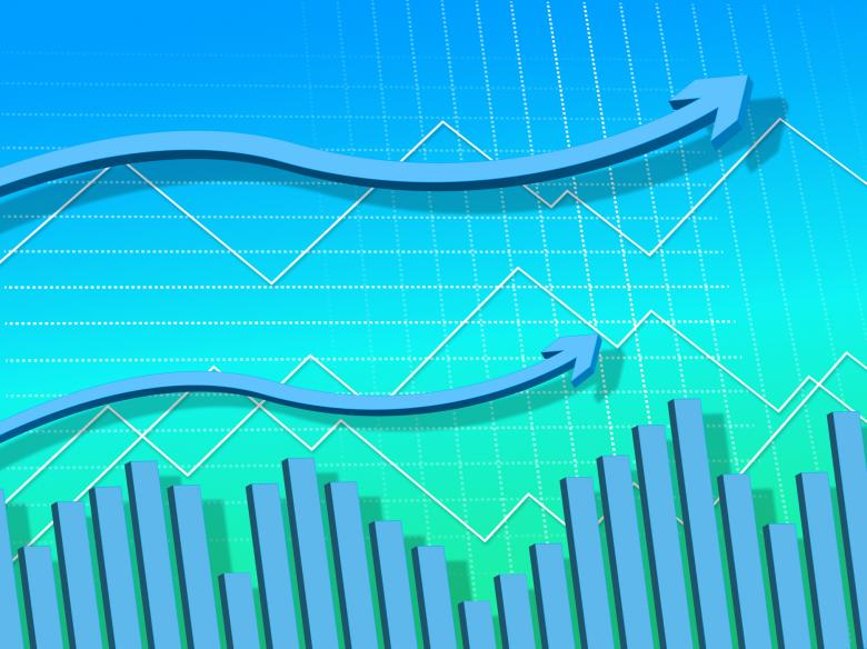 Free stock image of Blue Arrows Background Means Graph Upwards And Growth created by Stuart Miles