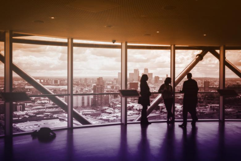 People Enjoying the View and Discussing Business