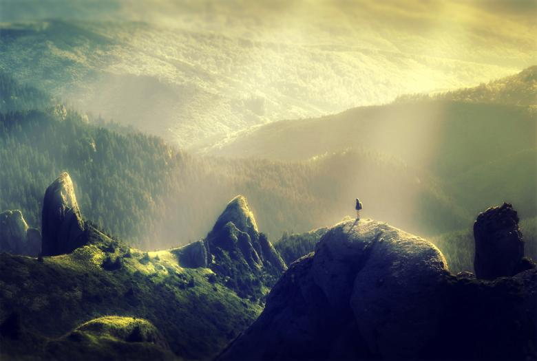 Free Stock Photo of Woman Alone at the Top of the Mountain Created by Jack Moreh