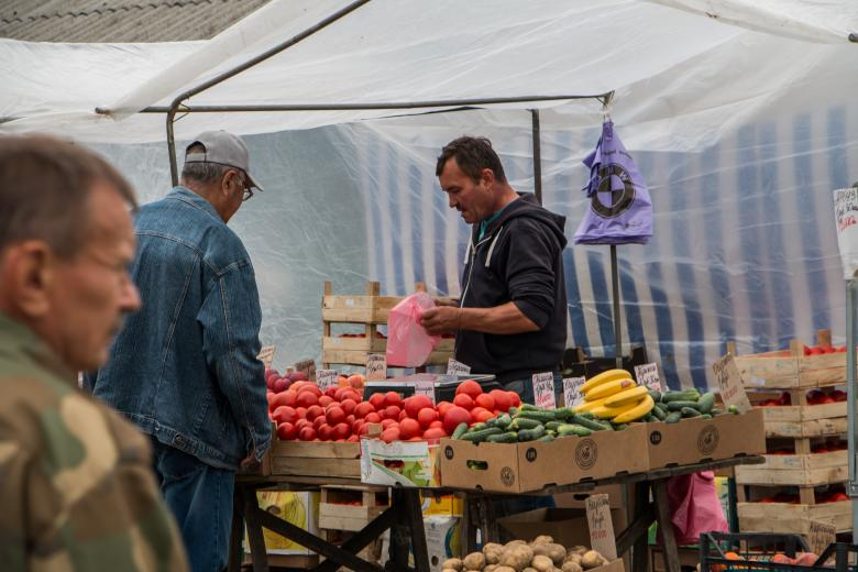 Free Stock Photo of Vegetable and fruit stand Created by Janis Urtans