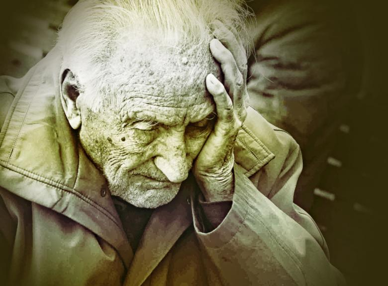 Free Stock Photo of Emotional Colorized Portrait of Elderly Man Worrying Created by Jack Moreh