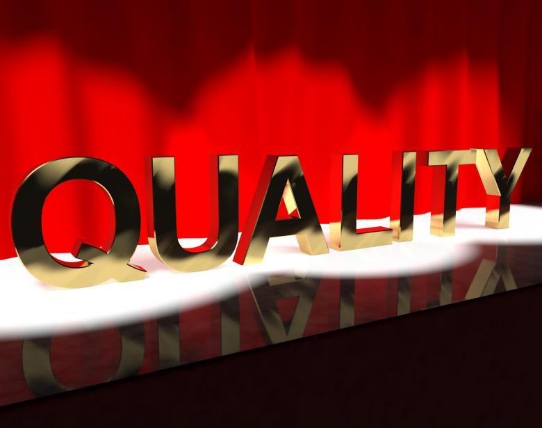 Free Stock Photo of Quality Word On Stage Showing Excellence Perfection And Improvement Created by Stuart Miles