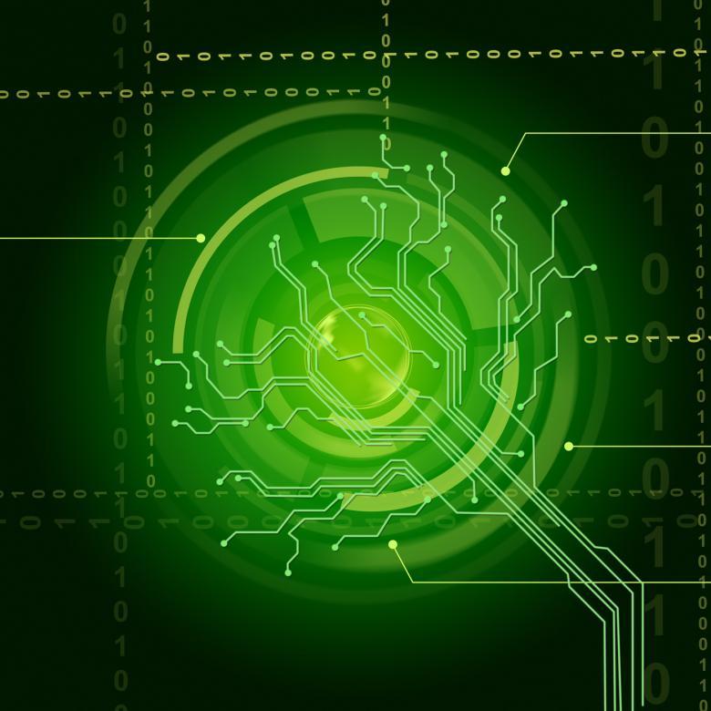 Electronic Sensor Background Shows Illuminated Eye Sensor Or Circuit - Free Technology Stock Photos
