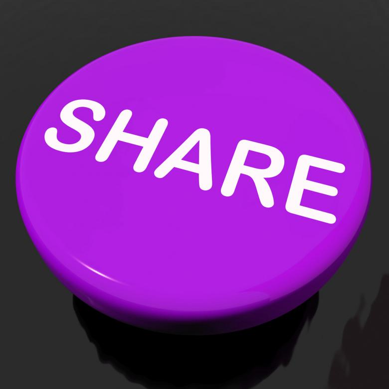 Free Stock Photo of Share Button Shows Sharing Webpage Or Picture Online Created by Stuart Miles