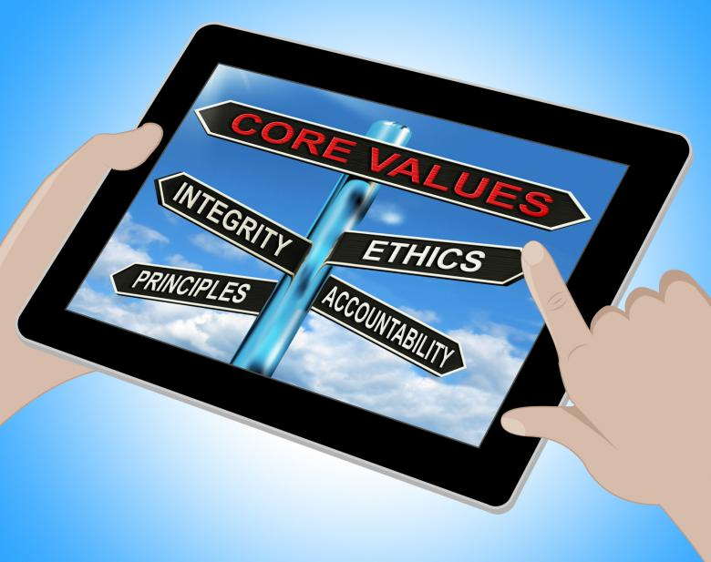 Free Stock Photo of Core Values Tablet Means Integrity Ethics Principals And Accountabilit Created by Stuart Miles