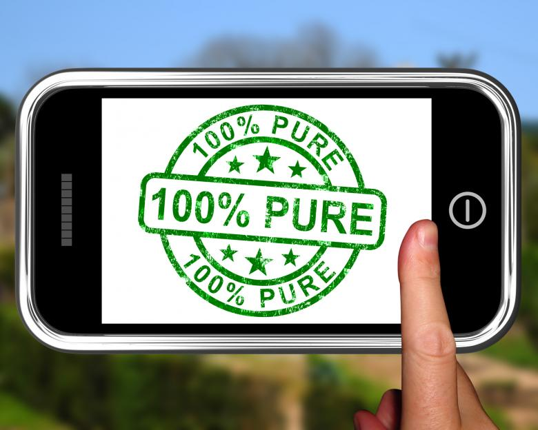 Free Stock Photo of 100Percent Pure On Smartphone Shows Genuine Created by Stuart Miles