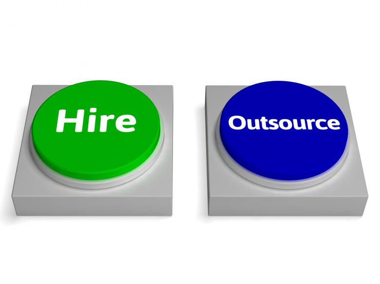 Free Stock Photo of Hire Outsource Button Shows Hiring Or Outsourcing Created by Stuart Miles