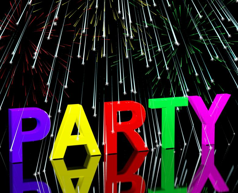 Free Stock Photo of Party Word With Fireworks Showing Clubbing Nightlife Or Disco Created by Stuart Miles