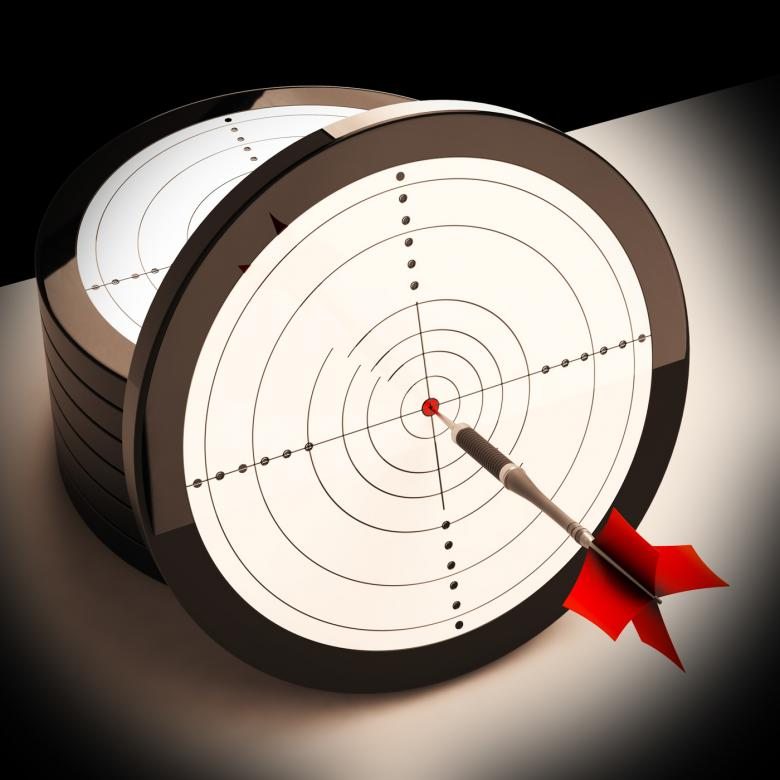 Free Stock Photo of Dart Target Shows Focused Successful Aim Created by Stuart Miles