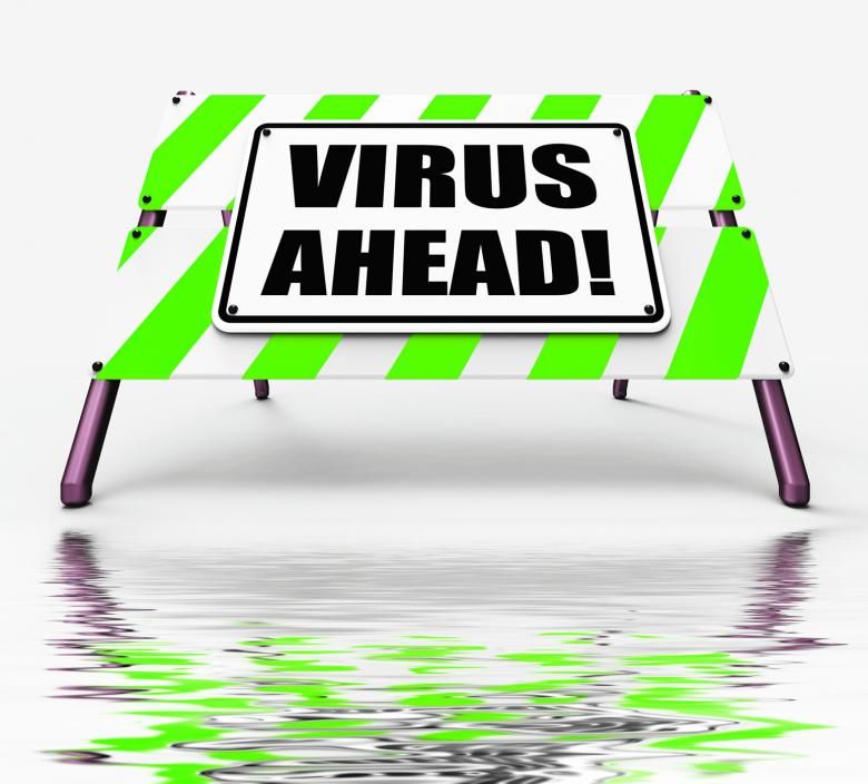 Free Stock Photo of Virus Ahead Displays Viruses and Future Malicious Damage Created by Stuart Miles