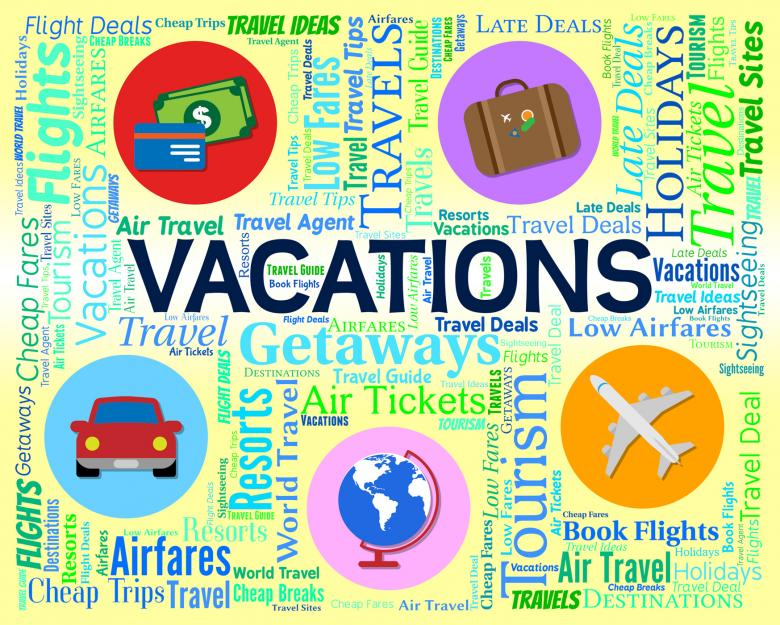Vacations Word Indicates Words Travelling And Travel - Free Travel Illustrations
