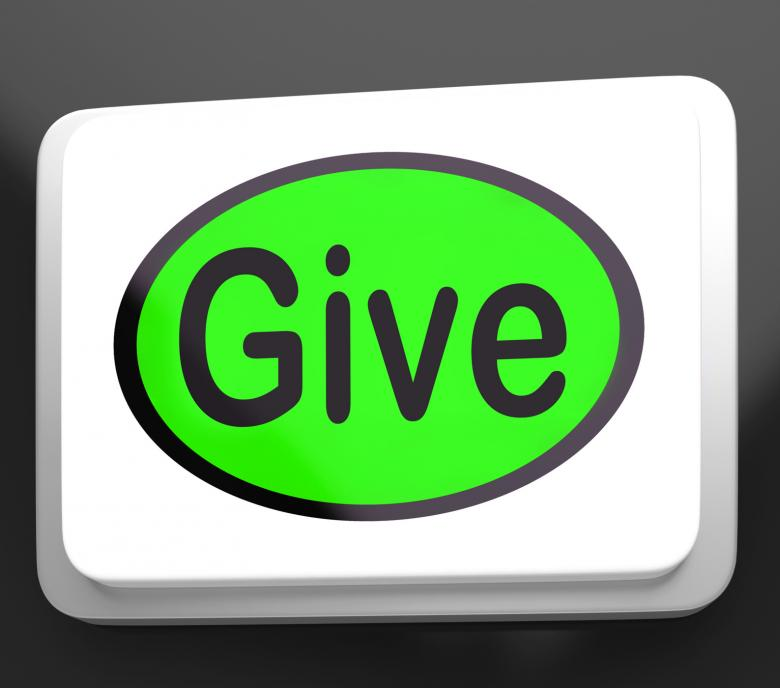 Free Stock Photo of Give Button Means Bestowed Allot Or Grant Created by Stuart Miles