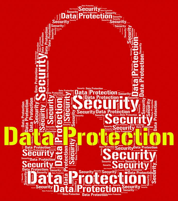 data protection represents forbidden secured and wordcloud free