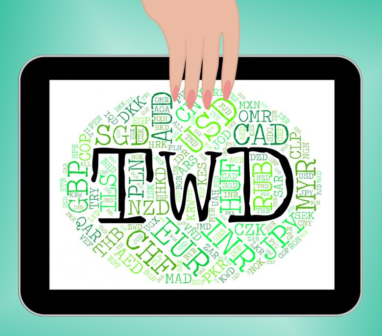 Twd Word Represents New Taiwan Dollar And Banknotes Free Stock