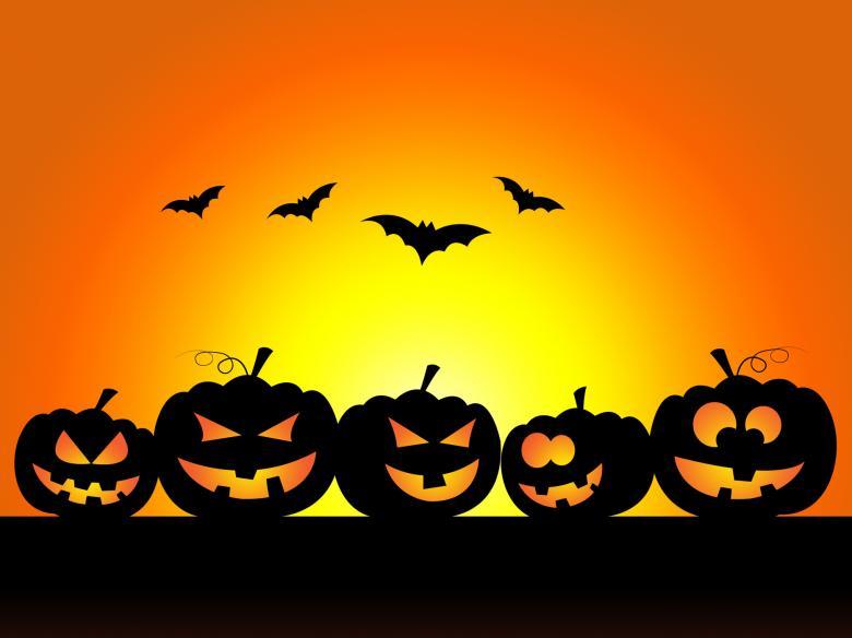 pumpkins bats orange yellow sky