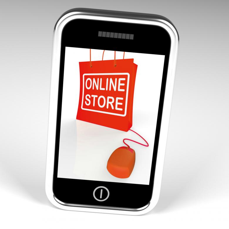 Free Stock Photo of Online Store Bag Displays Shopping and Buying From Internet Stores Created by Stuart Miles