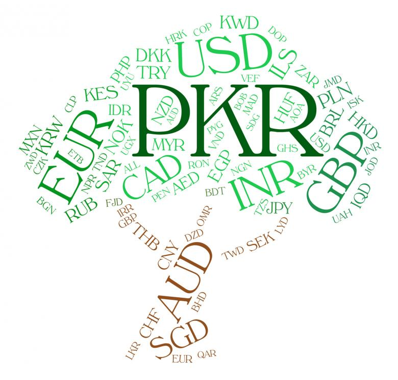 Pkr Currency Indicates Pakistani Rupees And Broker Free Stock