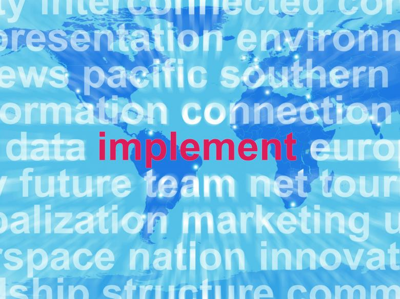Free Stock Photo of Implement Word Cloud Shows Implementing Or Executing A Plan Created by Stuart Miles